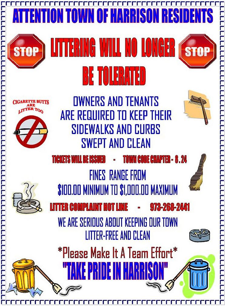 Flyer describing consequences of littering in the Town of Harrison.